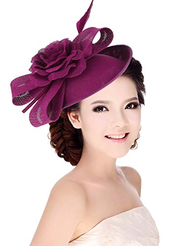 la vogue Women Sinamay Flower With Hair Clip Fascinator Feather Tea Party Derby Rosy