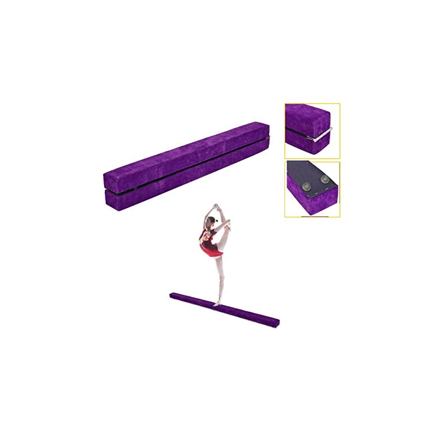 Wizhouse 7 Feet Gymnasts Balance Beam Purple Gymnastics Equipment for Kids & Home Use Wooden Base, Foam Padding, Non Slip Surface