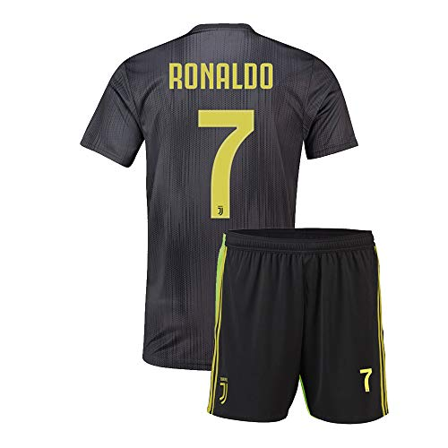 2505297cb Eyibv Youth Ronaldo Jersey 7 Boys Away 2018-2019 Kids Soccer Shorts Juventus  Sizes Gray (Gray