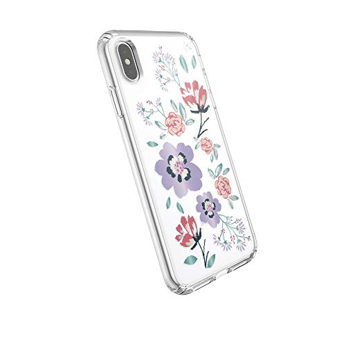 Speck Products Presidio Clear + Print iPhone Xs Max Case, CanopyFloral Lavender/Clear ()