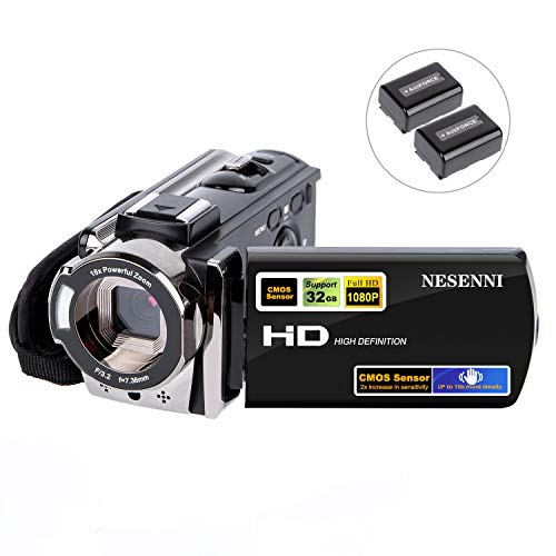 Camcorder Digital Video YouTube Vlogging Camera Recorder Full HD 1080P 15FPS 24MP 3.0 Inch 270 Degree Rotation LCD 16X Digital Zoom Camcorder with 2 Batteries(604S)