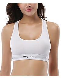 WingsLove Women's Everyday Cotton Bralette Racerback Pullover Training Yoga Bra