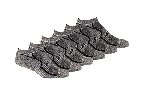 Saucony Men's Multi-Pack Bolt Performance Comfort Fit No-Show Socks, Grey Black (6 Pair), Shoe Size: 8-12