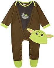 STAR WARS Baby Boys Footies and Hat Set The Mandalorian Baby Yoda
