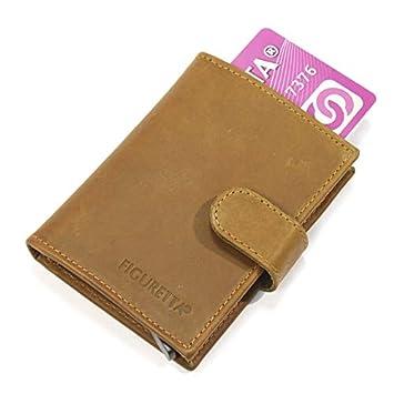 7c19e9ba4a89e Figuretta Leder Kreditkartenetui mit Banknotenfach - Geldbörse Slim Wallet  Portmonee - RFID Schutz - Khaki