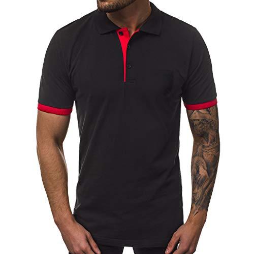 GDJGTA Mens Tops Solid Color Personality Men's Casual Slim Short Sleeve Pockets T Shirt Top Blouse D ()