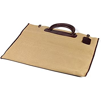 Roll Up Tote in Canvas with Leather Accents in Black Clava Leather