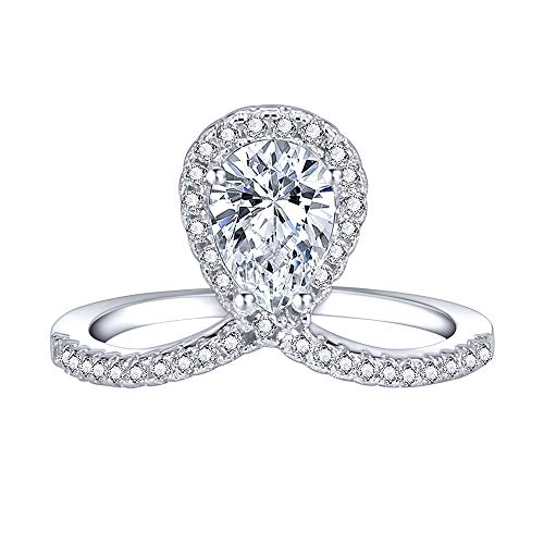 AoedeJ 18K White Gold Plated Teardrop Halo Rings Pear Cut CZ Solitaire Engagement Promise Rings for Women (7)