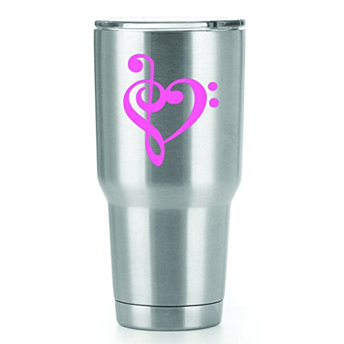 Music Heart Vinyl Decals Stickers ( 2 Pack!!! ) | Yeti Tumbler Cup Ozark Trail RTIC Orca | Decals Only! Cup not Included! | 2 - 3 X 2.5 inch Pink Decals | KCD1115P (Best Voice Teachers In America)