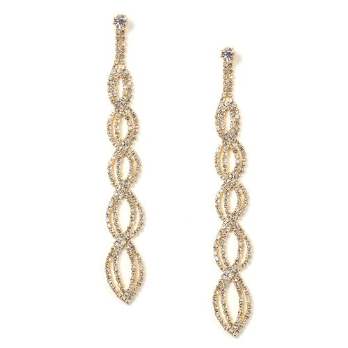 Gold Crystal Rhinestone Long Braids Shape Dangle Earrings
