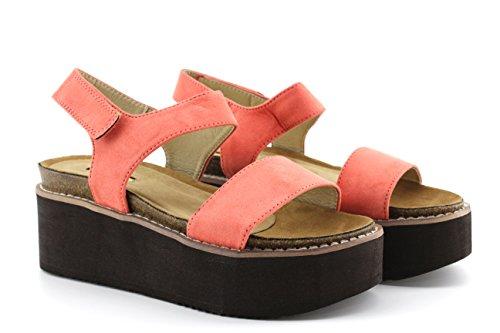 Modelisa - Sandalias Plataforma Velcro Mujer Coral