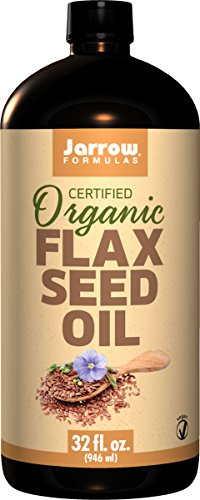 Jarrow Formulas Certified Organic Flax Seed Oil 32 Fl ounces. Pack of 8 Bottles. by Jarrow Formulas