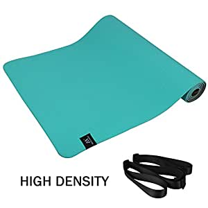"Matymats Non Slip TPE Yoga Mat with Carry Strap for Pilate Gymnastics Bikram Meditation Towel- High Density Thick 1/4'' Durable Mat 72"" 24"" Eco Safe Non Toxic (2018 New High Density Mat Grass Green)"