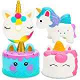 R HORSE 4 Pack Unicorn Cake Squishy Set Narwhal Cake Pink Unicorn Cake Unicorn Donut Rainbow Horse Kawaii Cream Scented Squishy Soft Decompression Squeeze Toys Kids Stress Relief Toy Hop Props, Decorative Props