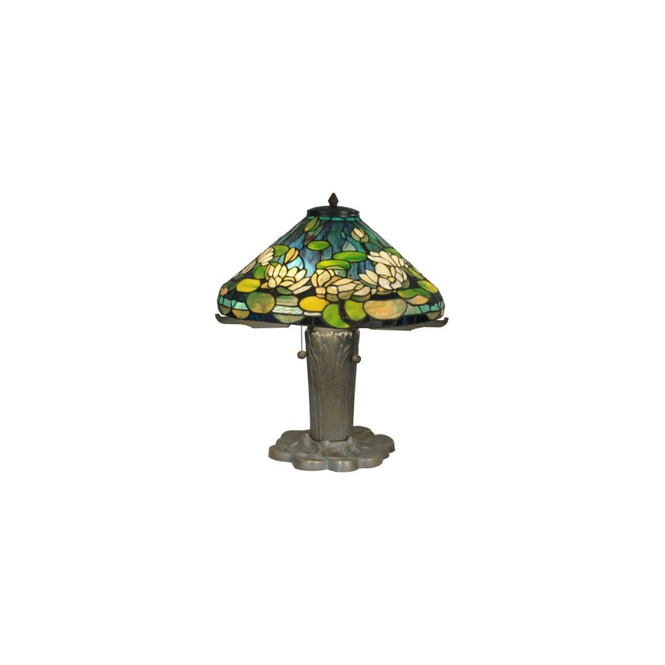 TT90436 Tiffany Table Lamp, Antique Bronze/Verde and Art Glass Shade