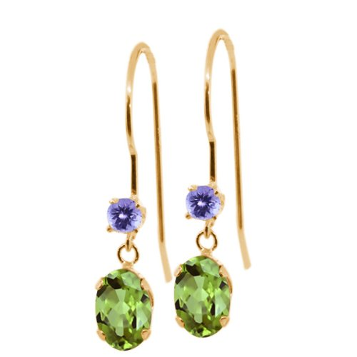 Gem Stone King 1.16 Ct Oval Green Peridot Blue Tanzanite 14K Yellow Gold Earrings ()