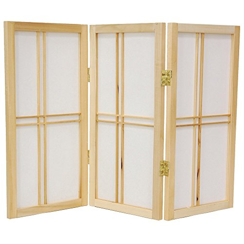 Oriental Desktop Double Cross 3 Panels Shoji Screen in Natur