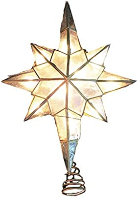 Kurt S. Adler 10/L Capiz Star Clear Christmas Tree Topper
