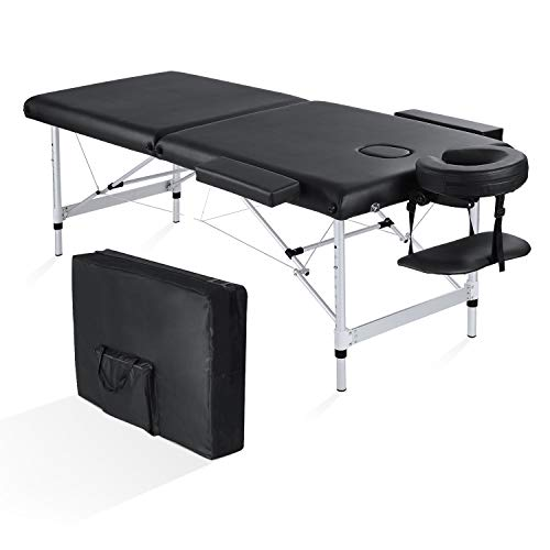 Maxkare Folding Massage Table Professional Portable 2 Fold Extra Wide 84 Carrying Bag Accessories Lash Bed Aluminum Frame for Home Use