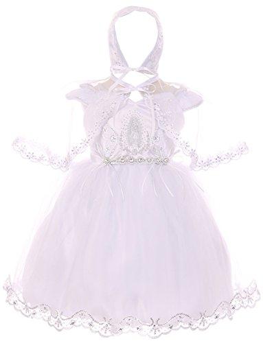 Baby Girls Infant Virgin Mary Bonnet Cape Baptism Set Christening Dresses White 6M (TR02K0)
