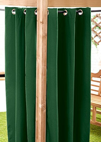 Green Water Resistant Ready Made Outdoor Eyelet Curtain 55'x84' Gazebo Summer House