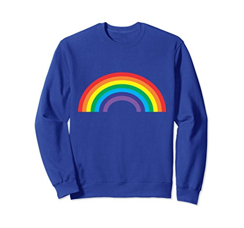 Unisex Retro Rainbow Sweatshirt 70's 80's Vibe Old School Style Large Royal Blue