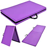 Purple Zipper Gymnastics Mat Stretching Yoga Folding Panel Thick
