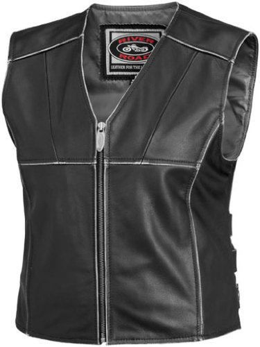 River Road Rambler Leather Womens Vest , Gender: Womens, Primary Color: Black, Size: Sm, Apparel Material: Leather, Distinct Name: Black XF-1-09-5091