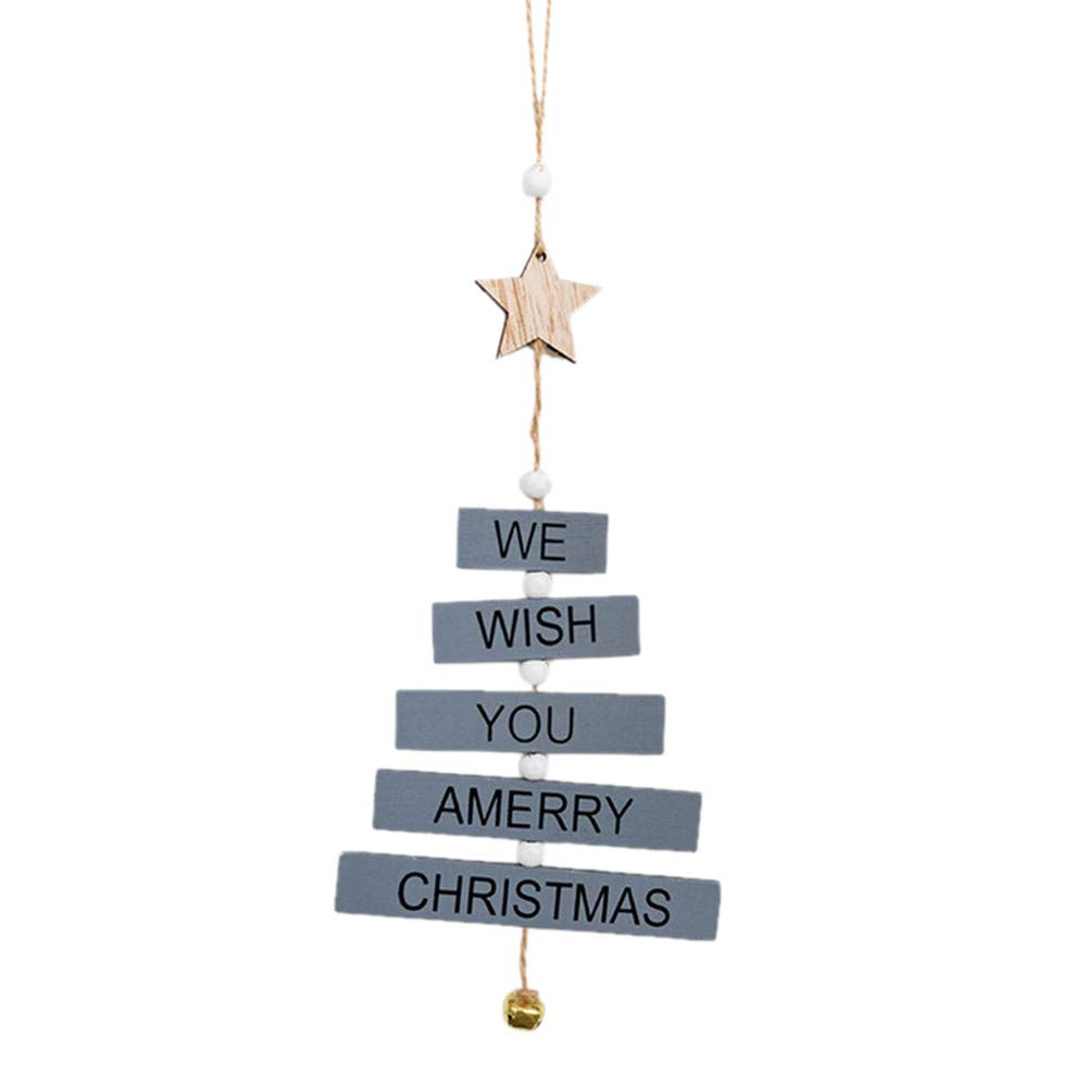 Christmas Tree Decorations Clearance,Jchen(TM) Merry Christmas Tree Decor Letter Pendant Home Wooden Hanging Christmas Decoration Supplies (Blue)