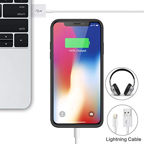 Battery Case for iPhone X/Xs, [6500mAh] Xooparc Protective Portable Charging Case Rechargeable Extended Battery Pack for Apple iPhone Xs&X (5.8') Backup Power Bank Cover - Black by Xooparc (Image #5)