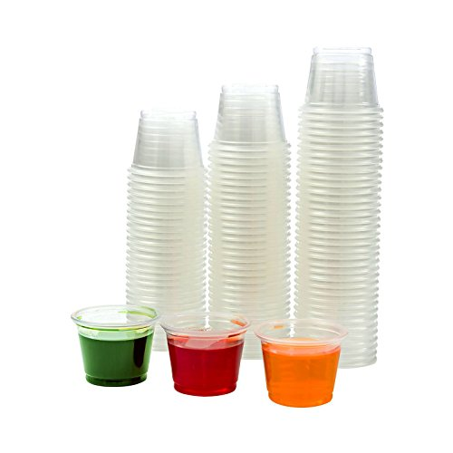 Adorox Plastic Restaurant Condiment Sauces Jello Shot Souffle Party Clear Cups with Lids (1 oz, Clear (125 Cups))