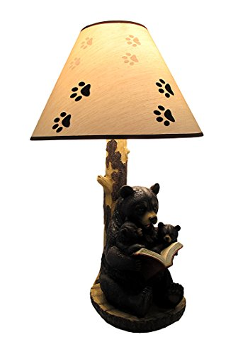 Black Bear Reading to Curious Cubs Table Lamp w/Paw Print Shade ()