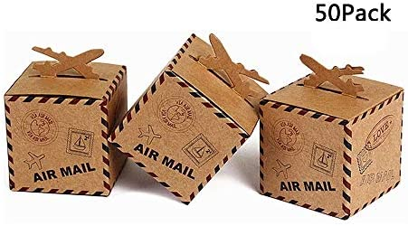 50 x boda fiesta cumpleaños Candy Retro rectangular kraft cajas de papel cajas de papel – de regalo de correo aéreo aviones Decor