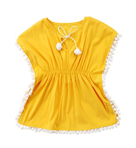Toddler Baby Girls Swim Cover-up Beach Sundress Summer Poncho (Yellow, 2-3T)]()