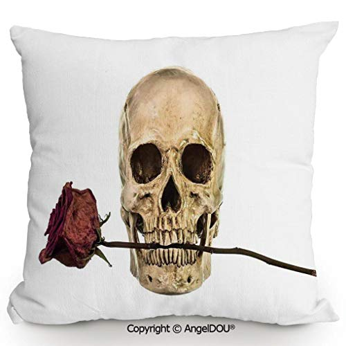 AngelDOU Fashion Sofa Cotton Linen Throw Pillow Cushion 17.7x17.7 Inch Skull with Dry Red Rose in Teeth Anatomy Death Eye Socket Jawbone Halloween Art Decorative Bed Office car Pillow Customized acce ()