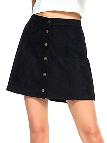 Choies Women's Black Casual Velevt Button Closure Junior A-Line Mini Skirt XS (Corduroy Button)