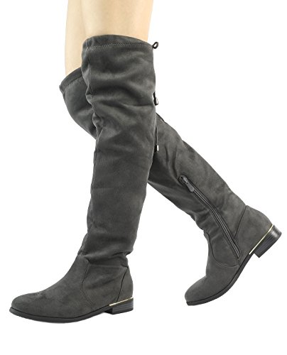 Dream Pairs Women's Upland Grey Suede Over The Knee Thigh High Winter Boots - 9 M US