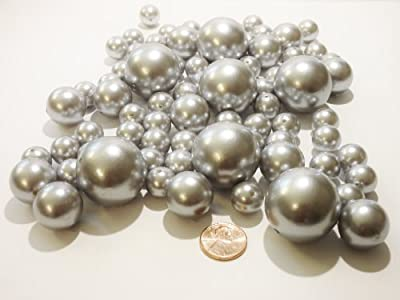 80 Jumbo & Assorted Sizes ALL SILVER PEARLS/Light Grey Vase Fillers Value Pack. NOT INCLUDING THE TRANSPARENT WATER GELS FOR FLOATING THE PEARLS (Sold Separately)