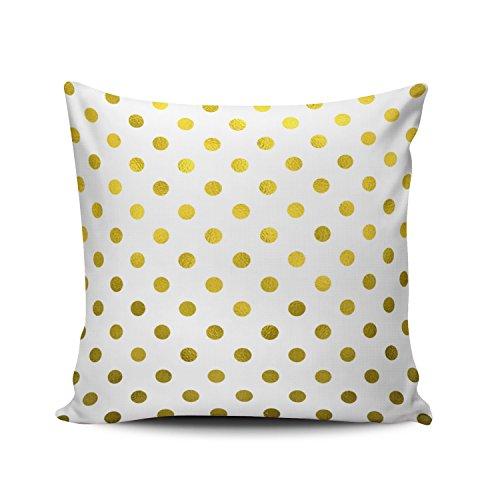 SALLEING Custom Fashion Home Decor Pillowcase Gold Leaf Metallic Polka Dot on White Dots Pattern Euro Square Throw Pillow Cover Cushion Case 26x26 Inches One Sided ()