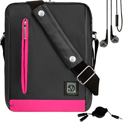 VanGoddy in-Ear Headphones, Splitter, and Pink Trim Anti-Theft Cross-Body Tablet Messenger Bag for Lenovo Smart Tab P10 M10, Tab M10 E10 4 10 4 8 E8 V7