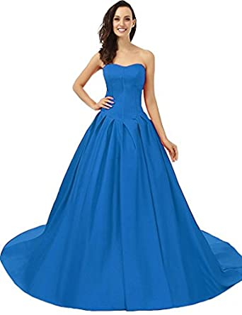 VinBridal Elegant Sweetheart Off Shoulder Pleat Long Satin Ball Gown Prom Dresses