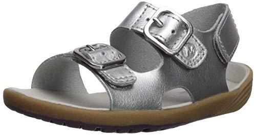 Merrell Girls' Bare Steps Sandal, Silver 10 Medium US Toddler