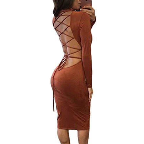 SEBOWEL Lace Up Back Mesh Cross Mock Neck Long Sleeve Faux Suede Midi Dress