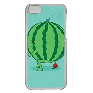 Cartoon Watermelon on Green 002 Iphone 5C Hard Shell with Transparent Edges Cover Case by Lilyshouse