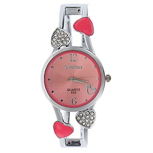 ELEOPTION Women's Bangle Watch Bracelet Design Quartz Watch with Rhinestone Round Dial Stainless Steel Band Wrist Watches Free Women's Watch Box (Loving-Pink) ()