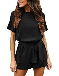 Women's Casual Short Sleeve Belted Keyhole Back One Piece...