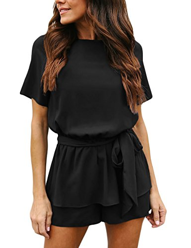 Utyful Women's Casual Short Sleeve Belted Keyhole Back One Piece Black Jumpsuit Romper Size Small (Fits US 4 – US 6)