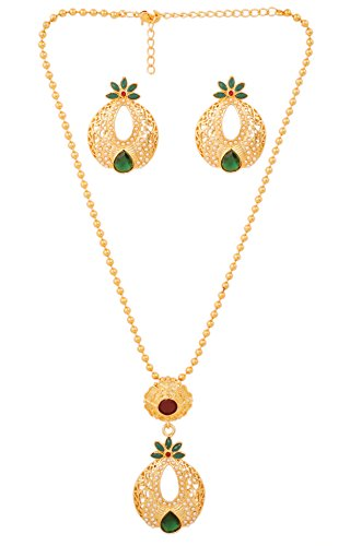 Touchstone Gold Tone Indian Bollywood Beautiful mesh and Cut Work Faux Pearls Emerald Jewelry Pendant Set