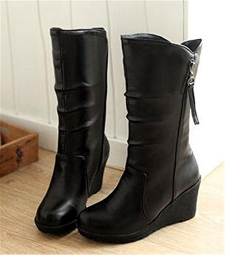 Side Boots Women's Lined Fur Slip Mid Black HAPPYLIVE Zipper Winter Thick Riding PU Faux Leather SHOPPING on Warm Calf YxPq5T