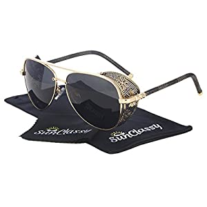Sunclassy Metal Frame Side Shield Oval 52mm Hipster Round Sunglasses Vintage Retro Steampunk Gothic Hippie Circle Retro (Brown, Brown) (Gold, Black)